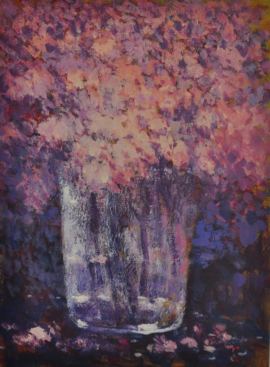 flower pot by Zargar Zahoor, Impressionism Painting, Acrylic on Paper, Brown color