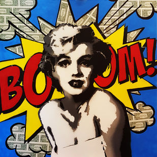 BOOM MONROE ( Real Dollar Art) by Sanuj Birla, Pop Art Painting, Acrylic on Canvas, Brown color