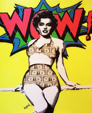 WOW MONROE by Sanuj Birla, Pop Art Painting, Acrylic on Canvas, Yellow color
