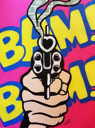 BAM BAM MONEY by Sanuj Birla, Pop Art Painting, Acrylic on Canvas, Beige color