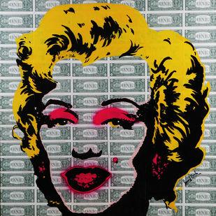 MILLION DOLLAR MONROE ( Real Dollar Art) by Sanuj Birla, Pop Art Painting, Acrylic on Canvas, Gray color