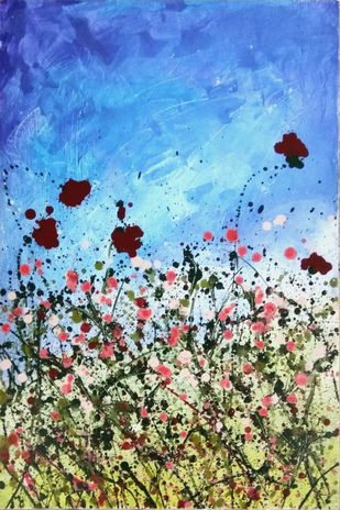 What a Wonderful World by Priyadarshini Ohol, Expressionism Painting, Acrylic on Canvas, Cyan color