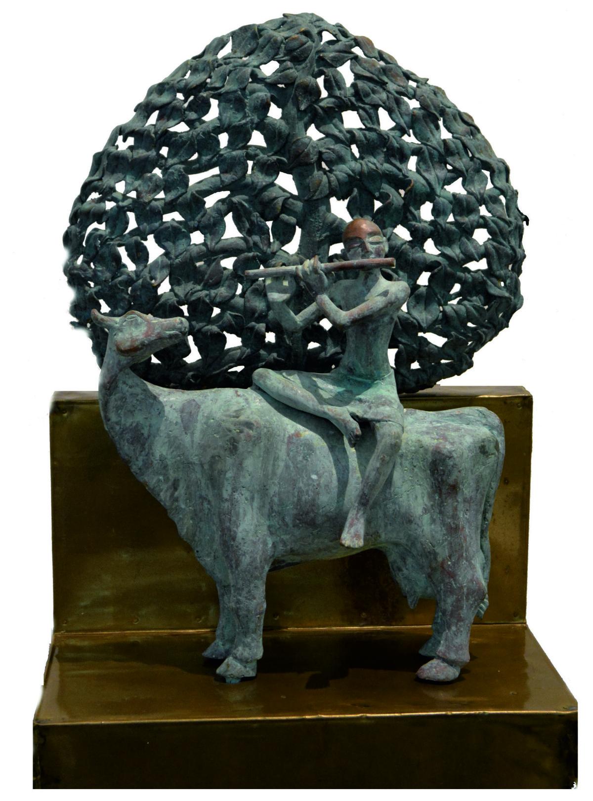 Krishna by P Gnana, Art Deco Sculpture | 3D, Bronze, Gray color