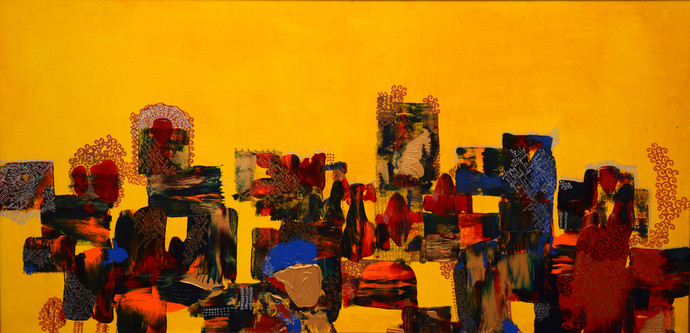 Untitled by Alka Raghuvanshi, Geometrical Painting, Acrylic on Canvas, Orange color