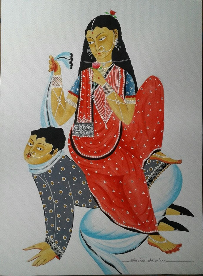 Hen-pecked Babu by Bhaskar Chitrakar, Traditional Painting, Natural colours on paper, Brown color