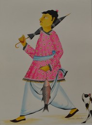 Babu in pink kurta returning from market with fish and umbrella by Bhaskar Chitrakar, Traditional Painting, Tempera on Paper, Brown color
