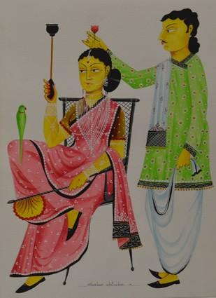 Babu romancing Bibi with a rose by Bhaskar Chitrakar, Traditional Painting, Tempera on Paper, Brown color