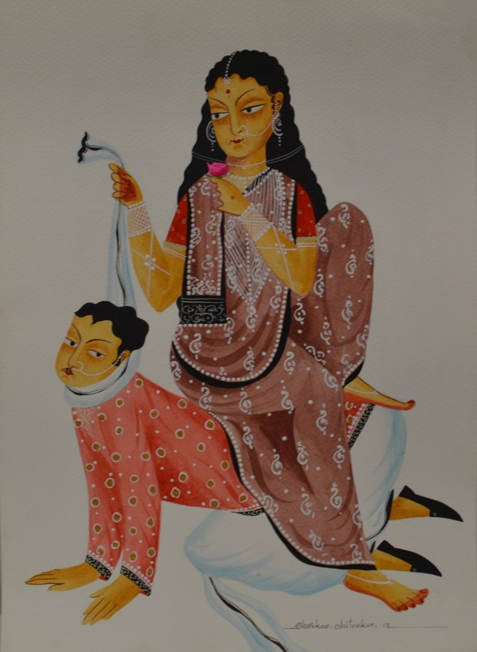 Hen-pecked Babu with Bibi on back by Bhaskar Chitrakar, Traditional Painting, Tempera on Paper, Brown color