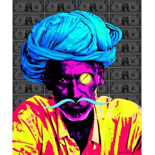 US wale Munim ji by Sanuj Birla, Pop Art Digital Art, Digital Print on Canvas, Gray color