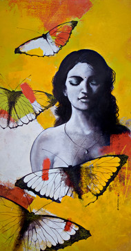 She_15 by Kishore Pratim Biswas, Painting, Acrylic on Canvas, Brown color