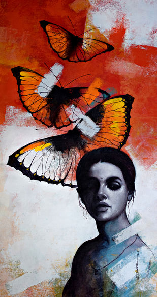 She_14 by Kishore Pratim Biswas, Realism Painting, Acrylic on Canvas, Brown color