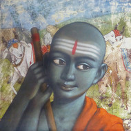 Pandit by Sanjay N Raut, Realism Painting, Acrylic on Paper, Gray color