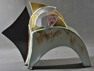 RAPTURE by Usha Garodia, Art Deco Sculpture | 3D, Ceramic, Black color