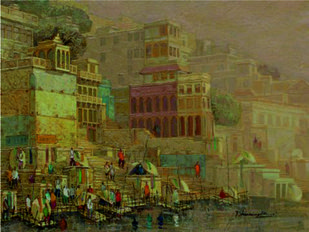 Banaras Series 1 by Yashwant Shirwadkar, Impressionism Painting, Oil on Canvas, Brown color