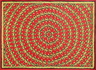 Madhubani Painting by Unknown Artist, Folk Painting, Acrylic on Paper,
