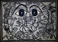 Madhubani Painting by Unknown Artist, Folk Painting, Acrylic on Paper, Gray color