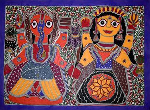 Madhubani Painting by Unknown Artist, Folk Painting, Acrylic on Paper, Brown color