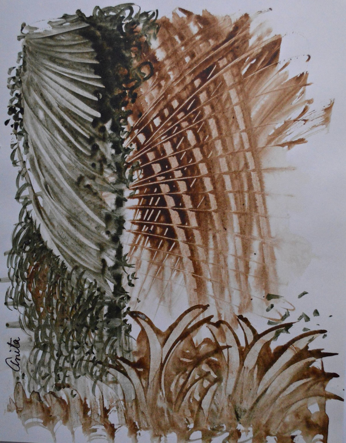 Woods by Anita Tiwary, Abstract Painting, Watercolor on Paper, Brown color