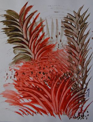 Innerscape by Anita Tiwary, Abstract Painting, Watercolor on Paper, Brown color