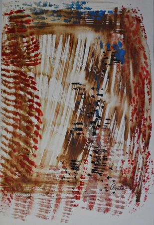 Soulscape by Anita Tiwary, Abstract Painting, Watercolor on Paper, Brown color