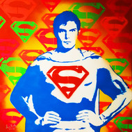 SUPER - POP - MAN by Sanuj Birla, Pop Art Painting, Acrylic on Board, Red color