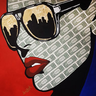 KEEP THE SHADES ON (Real Dollar Art) by Sanuj Birla, Pop Art Painting, Acrylic on Board, Brown color