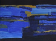 Untitled by Basant Bhargave, Abstract Serigraph, Serigraph on Paper, Blue color