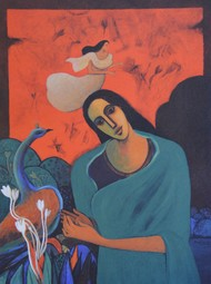 Untitled by Jagadish Dey, Expressionism Serigraph, Serigraph on Paper, Brown color
