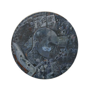 Blind Poet Butterflies by C Douglas, Expressionism Painting, Mixed Media on Wood, White color