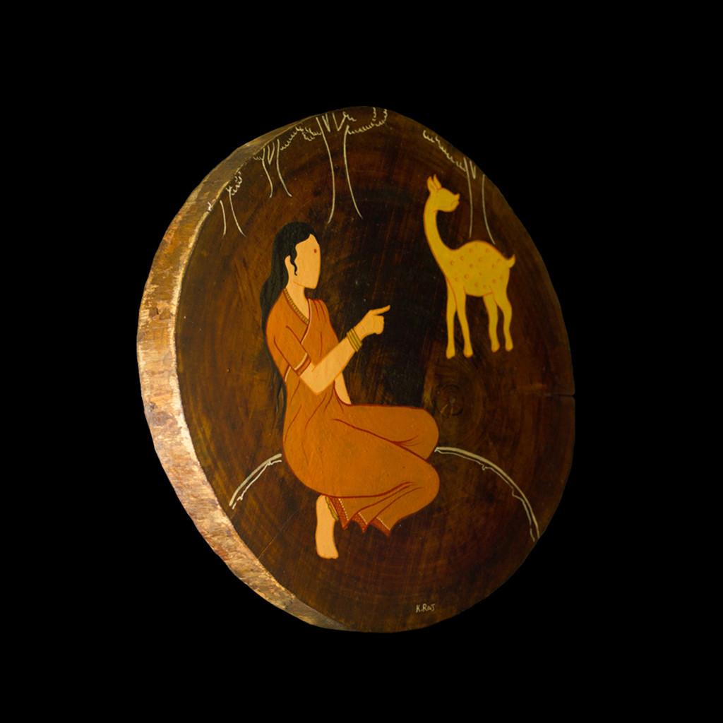 Ramayan by Henry Kanikai Raj, Traditional Painting, Mixed Media on Wood, Black color