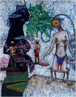 Interpersonal Relationaship by Satya VIjay Singh, Conceptual Painting, Mixed Media, Blue color