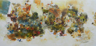 Banaras 32'-2016 by Anand Narain, Abstract Painting, Oil on Canvas, Beige color