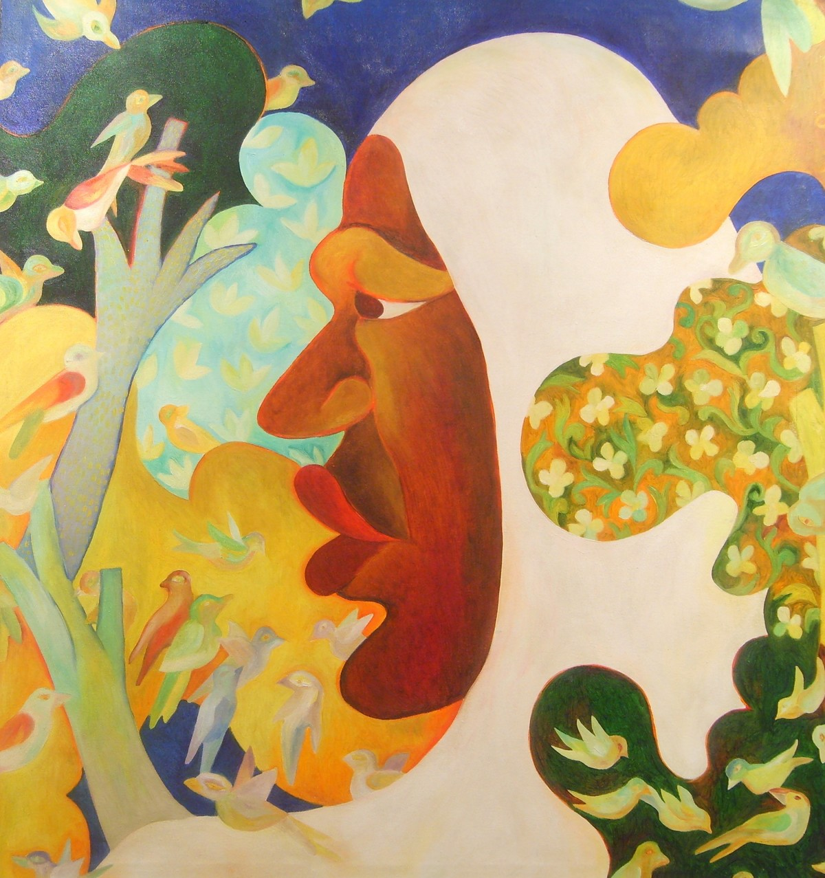 Lady with Birds by Chaitali Chatterjee, Expressionism Painting, Oil on Canvas, Beige color