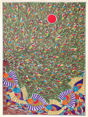 Madhubani Painting by Unknown Artist, Folk Painting, Acrylic on Canvas, Brown color