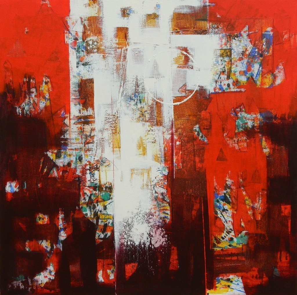 untitled by Stalin P J, Abstract Painting, Acrylic on Canvas, Brown color