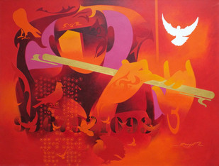 joy of music - 14 by RANJIT SINGH KURMI, Geometrical Painting, Acrylic on Canvas, Red color