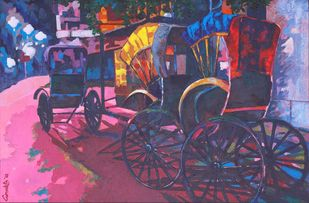Pink Slumber by Anukta Mukherjee Ghosh, Expressionism Painting, Acrylic on Canvas, Brown color