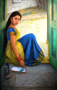 Indian girl hair combing by Vishalandra Dakur, Realism Painting, Oil on Canvas, Gray color