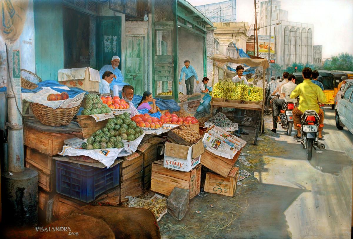 Fruit market in Abids Digital Print by Vishalandra Dakur,Photorealism