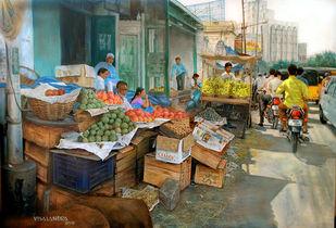 Fruit market in Abids by Vishalandra Dakur, Photorealism Painting, Oil on Canvas,