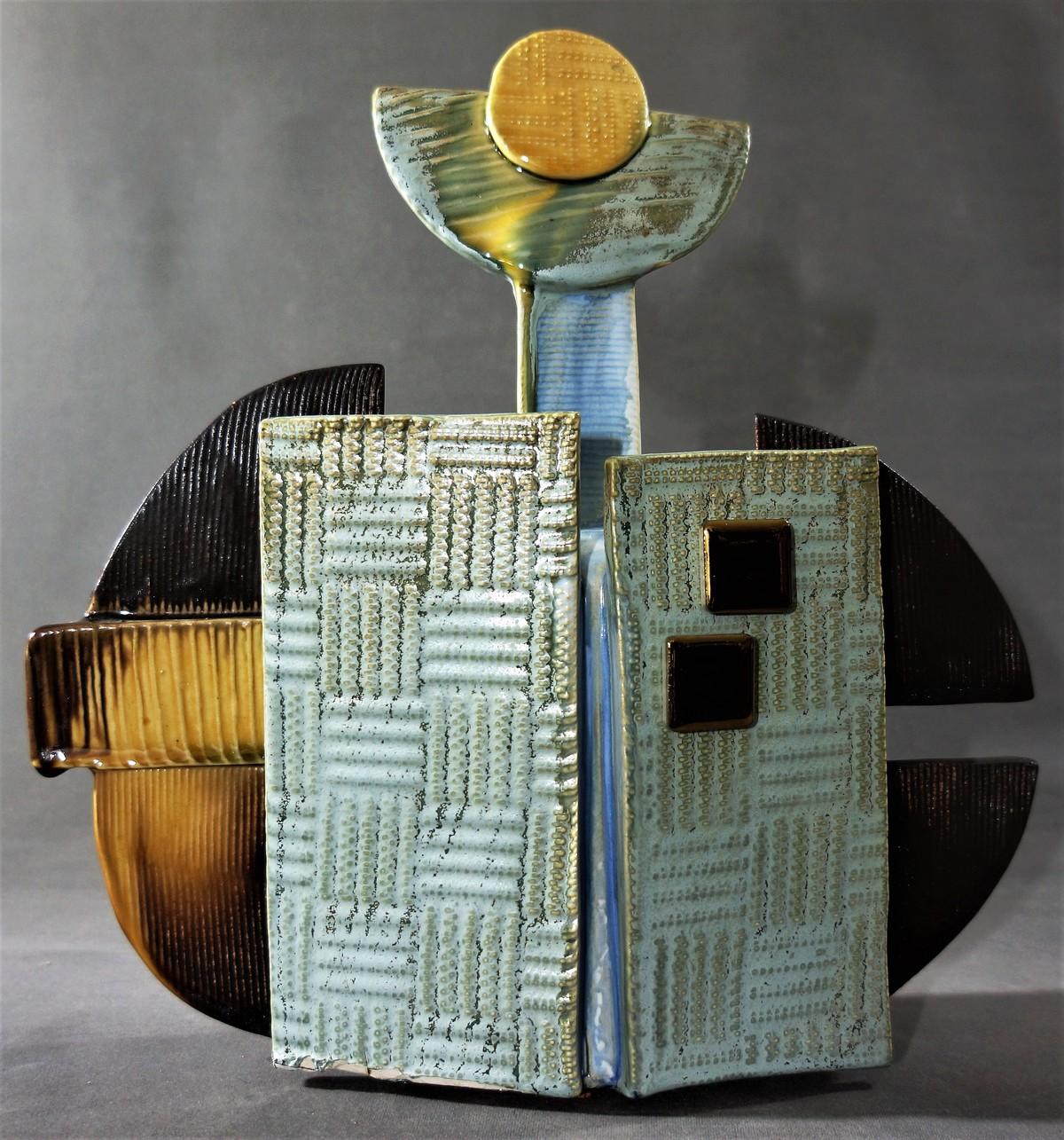 FRAGMENTS OF LIFE by Usha Garodia, Art Deco Sculpture | 3D, Ceramic, Gray color