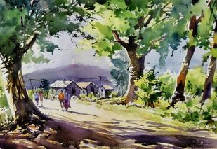 Village scene by Sunil Linus De, Impressionism Painting, Watercolor on Paper, Green color