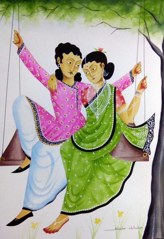 Babu-Bibi on a swing by Bhaskar Chitrakar, Folk Painting, Tempera on Paper, Beige color