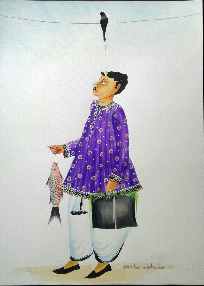 """Babu receiving crow's """"blessings"""" by Bhaskar Chitrakar, Traditional Painting, Tempera on Paper, Gray color"""