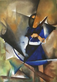 Untitled by Sachin Shinde, Cubism Painting, Oil on Canvas, Brown color