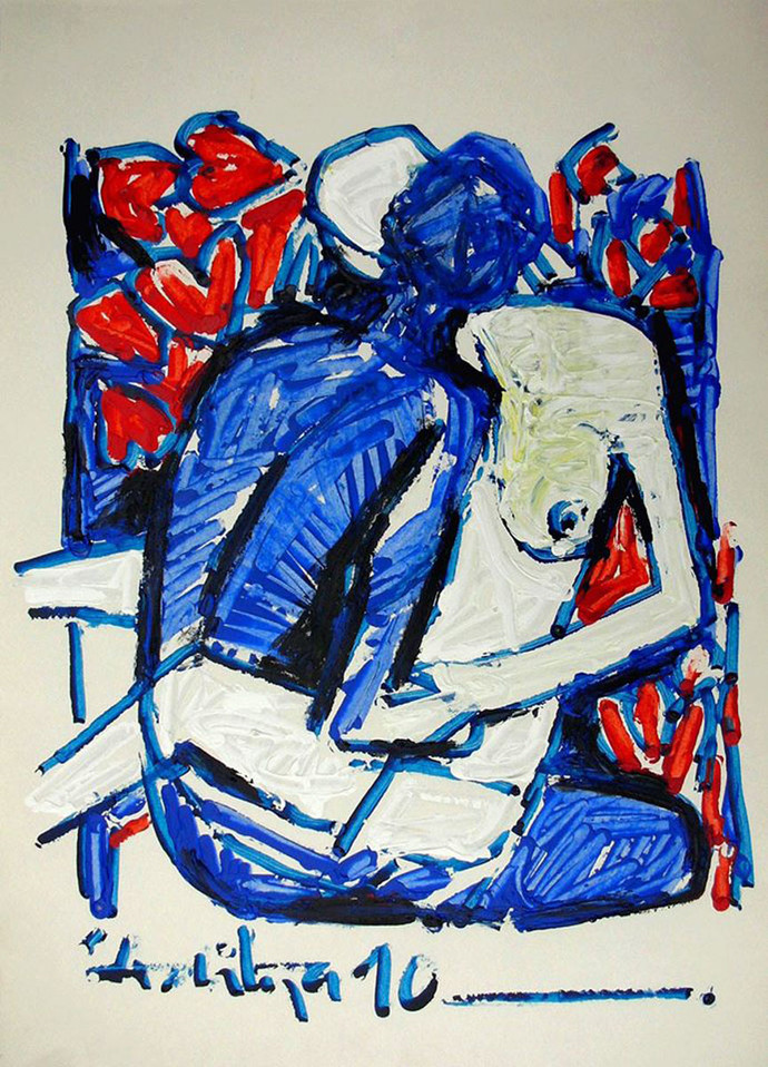 HOLDING by Aditya Dev, Expressionism Painting, Acrylic on Paper, Blue color