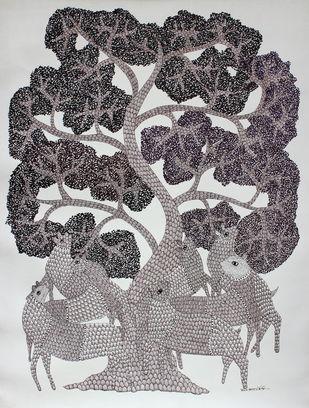 Reunites under the tree by Ajay kumar Ureti, Folk Painting, Acrylic on Canvas, Gray color