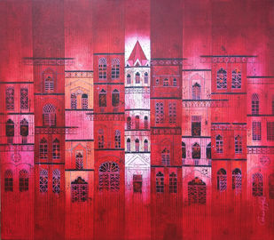 Red City 835 by Suresh Gulage, Geometrical, Geometrical Painting, Acrylic on Canvas, Blue color