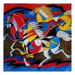 HORSE 1 by PARESH MORE, Geometrical Painting, Acrylic on Canvas, Brown color