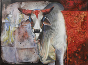 nostalgia1 by Jiban Biswas, Realism Painting, Acrylic on Canvas, Brown color